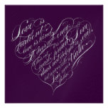 Love is patient.. eggplant & silver script heart custom invitations