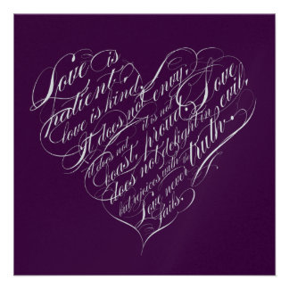 Love is patient.. eggplant & silver script heart custom invitations