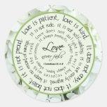 Love is Patient Floral Scripture Wedding Sticker Stickers