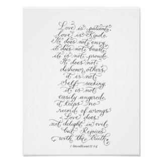Love is patient inspirational verses typography poster