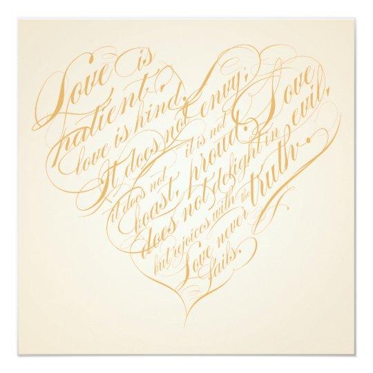 1 Corinthians 13 Wedding Invitations: Love Is Patient.. Light Gold Calligraphy Heart Invitation