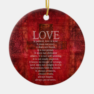 Love Is Patient Love Is Kind Bible Verse Ceramic Ornament