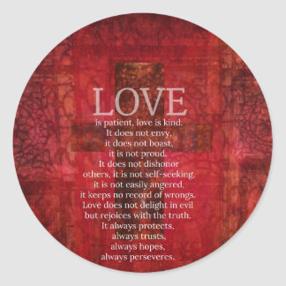 Love Is Patient Love Is Kind Bible Verse Classic Round Sticker