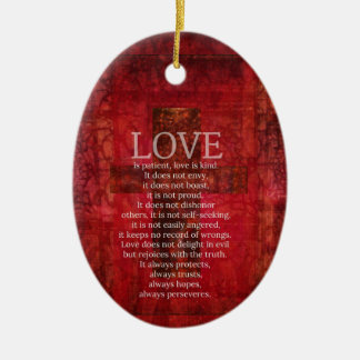 Love Is Patient Love Is Kind Bible Verse Double-Sided Oval Ceramic Christmas Ornament