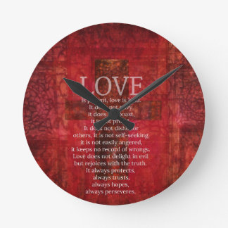 Love Is Patient Love Is Kind Bible Verse Round Clock