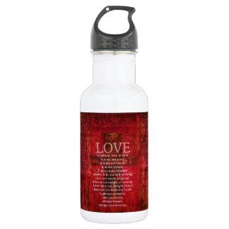 Love Is Patient Love Is Kind Bible Verse Stainless Steel Water Bottle
