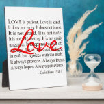 """Love is Patient Love is Kind Corinthians Plaque<br><div class=""""desc"""">Love is patient, love is kind. It does not envy, it does not boast, it is not proud. It does not dishonor others, it is not self-seeking, it is not easily angered, it keeps no record of wrongs. Love does not delight in evil but rejoices with the truth. It always...</div>"""
