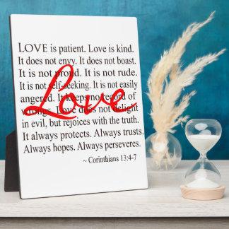 Love is Patient, Love is Kind. Plaque
