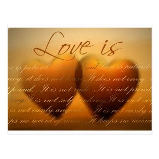 Love is patient; love is kind postcard