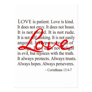 Love is Patient, Love is Kind. Post Card