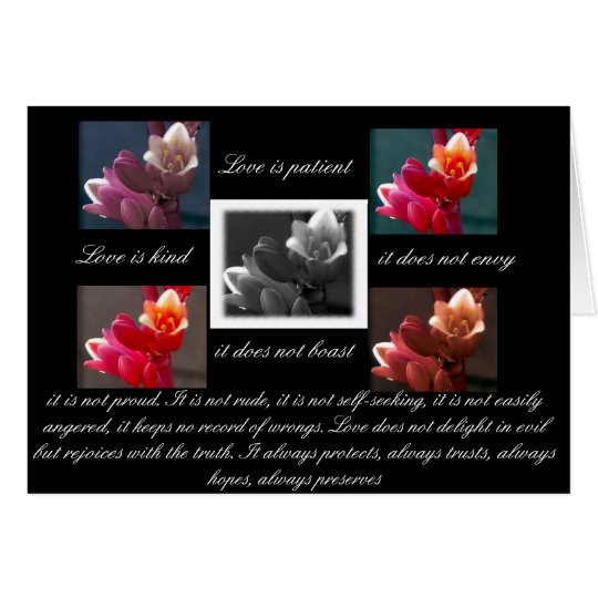 love is patient love is kind with flowers card
