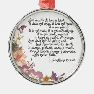 Love is patient metal ornament