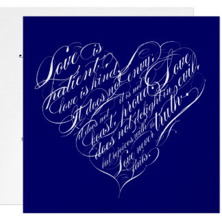 Love is patient.. navy & silver calligraphic heart card