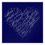 Love is patient.. navy & silver calligraphic heart personalized invites