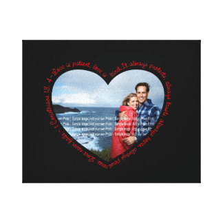 Love is Patient Photo Heart Black & Red Canvas Print