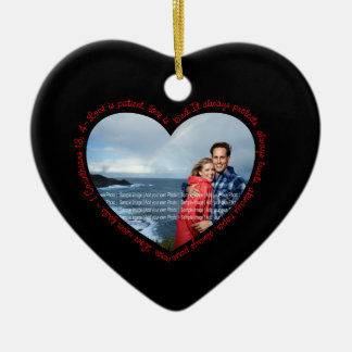 Love is Patient Photo Heart Black & Red Ceramic Ornament