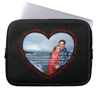 Love is Patient Photo Heart Black & Red Laptop Sleeve