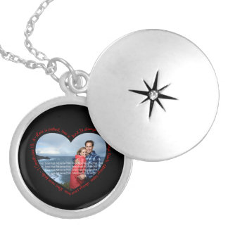 Love is Patient Photo Heart Black & Red Locket Necklace