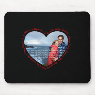Love is Patient Photo Heart Black & Red Mouse Pad