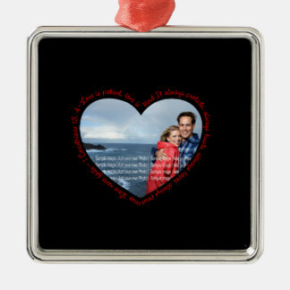 Love is Patient Photo Heart Black Red Ornaments