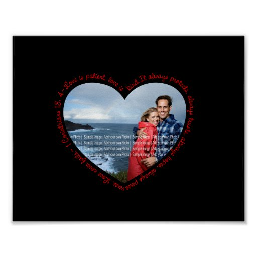 Love is Patient Photo Heart Black & Red Poster