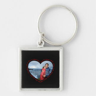 Love is Patient Photo Heart Black & Red Silver-Colored Square Keychain
