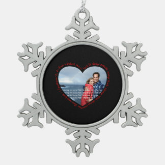Love is Patient Photo Heart Black & Red Snowflake Pewter Christmas Ornament