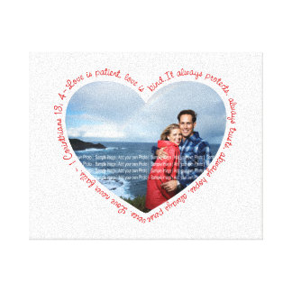 Love is Patient Photo Heart White & Red Canvas Print