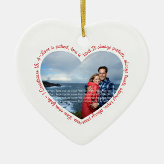 Love is Patient Photo Heart White & Red Ceramic Ornament