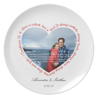 Love is Patient Photo Heart White & Red Dinner Plate