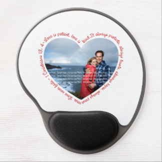 Love is Patient Photo Heart White & Red Gel Mouse Pad