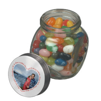 Love is Patient Photo Heart White & Red Jelly Belly Candy Jars