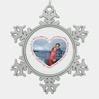 Love is Patient Photo Heart White Red Ornaments