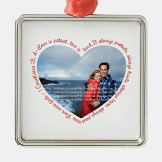 Love is Patient Photo Heart White Red Christmas Tree Ornaments