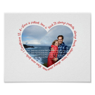 Love is Patient Photo Heart White & Red Posters