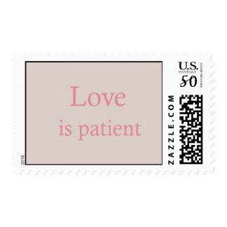 Love is Patient Pink Postage Stamp