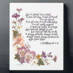 """Love is patient plaque<br><div class=""""desc"""">Love is patient,  love is kind...  1 Corinthians 13:4-8,  popular and beloved biblical passage heard especially at weddings and anniversaries,  presented here with pressed flowers and calligraphy by Simone Sheppard.  Flowers from her garden include linaria,  azalea,  pansy and larkspur. Beautiful gift for anyone.</div>"""