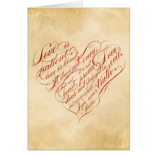 Love is Patient... Red Calligraphic Heart Card
