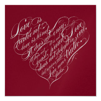 Love is patient... red & silver calligraphic heart card