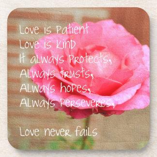 Love is Patient Rose Beverage Coaster
