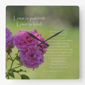 Love is Patient Roses Square Wall Clock