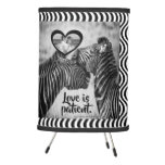 "Love is patient ""safari black and white"" tripod lamp"