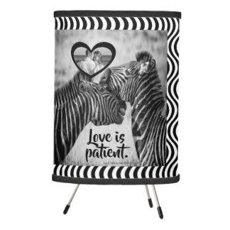 "Love is patient ""safari black and white"" tripod lamp"