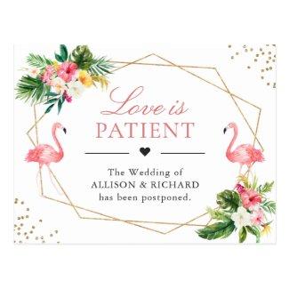 Love is Patient Tropical Flamingo Wedding New Date Postcard