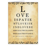 Love Is Patient Vintage Eye Chart Greeting Card