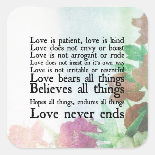 Love is Patient Vintage Floral Sticker