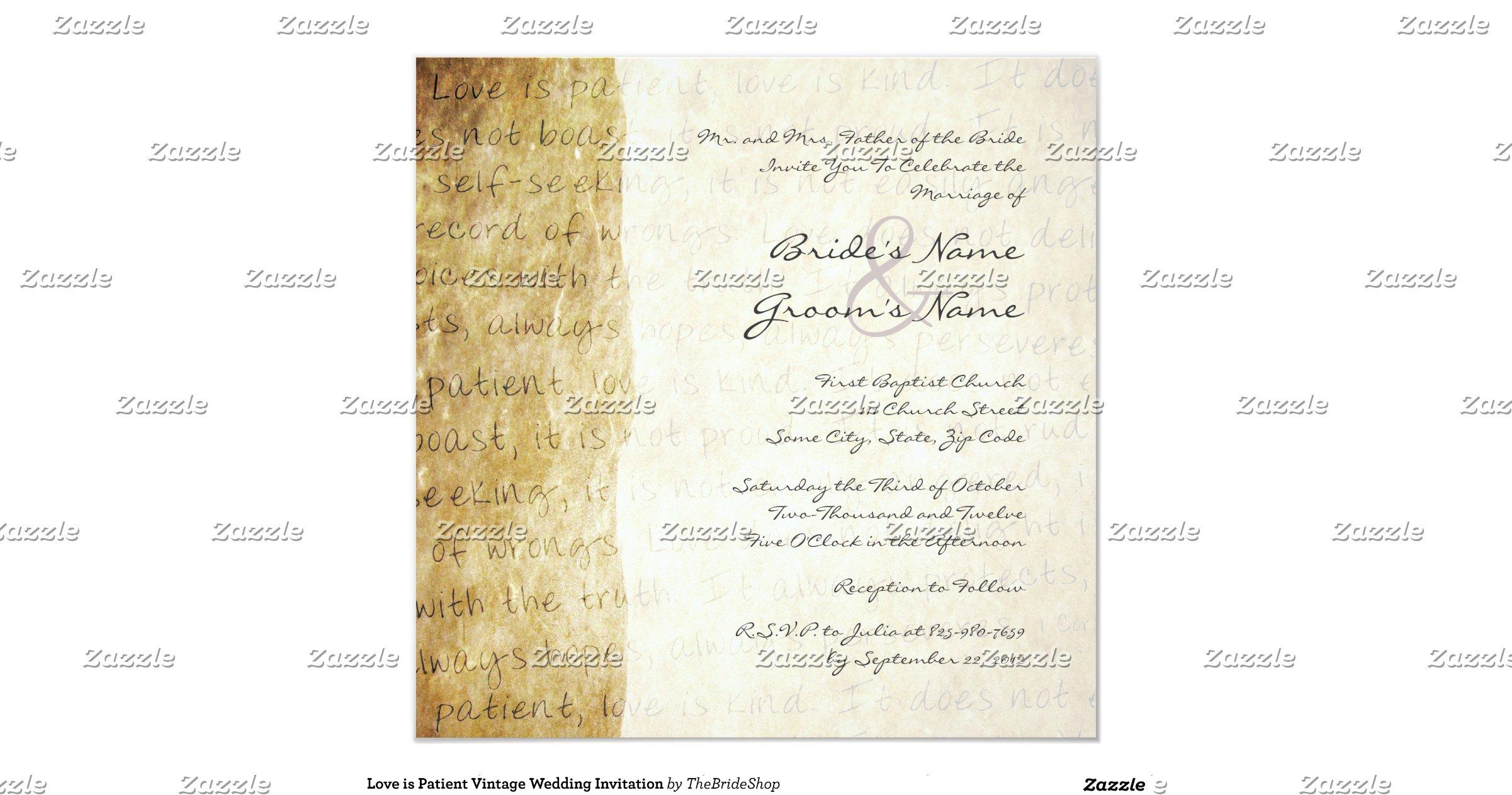 Love Is Patient Vintage Wedding Invitation R5d14b0fa3c02413b88754e4d78d13260 Zk9yv 1200