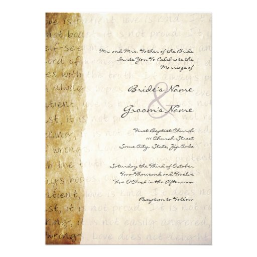 Love Is Patient Vintage Wedding Invitation 5 X 7 Invitation Card