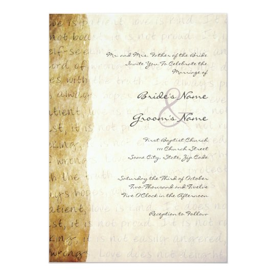 1 Corinthians 13 Wedding Invitations: Love Is Patient Vintage Wedding Invitation