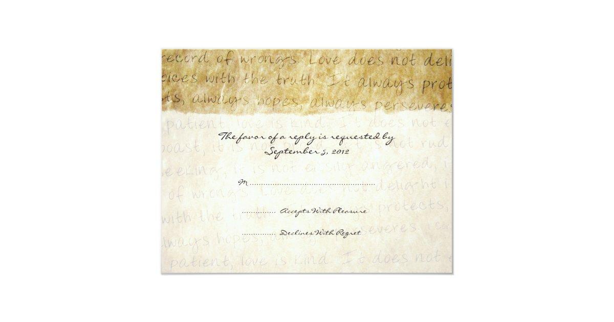 Love Is Patient Vintage Wedding RSVP Card